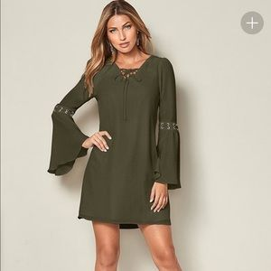 Venus Lace-up Bell Sleeve Flowy Army Green Dress